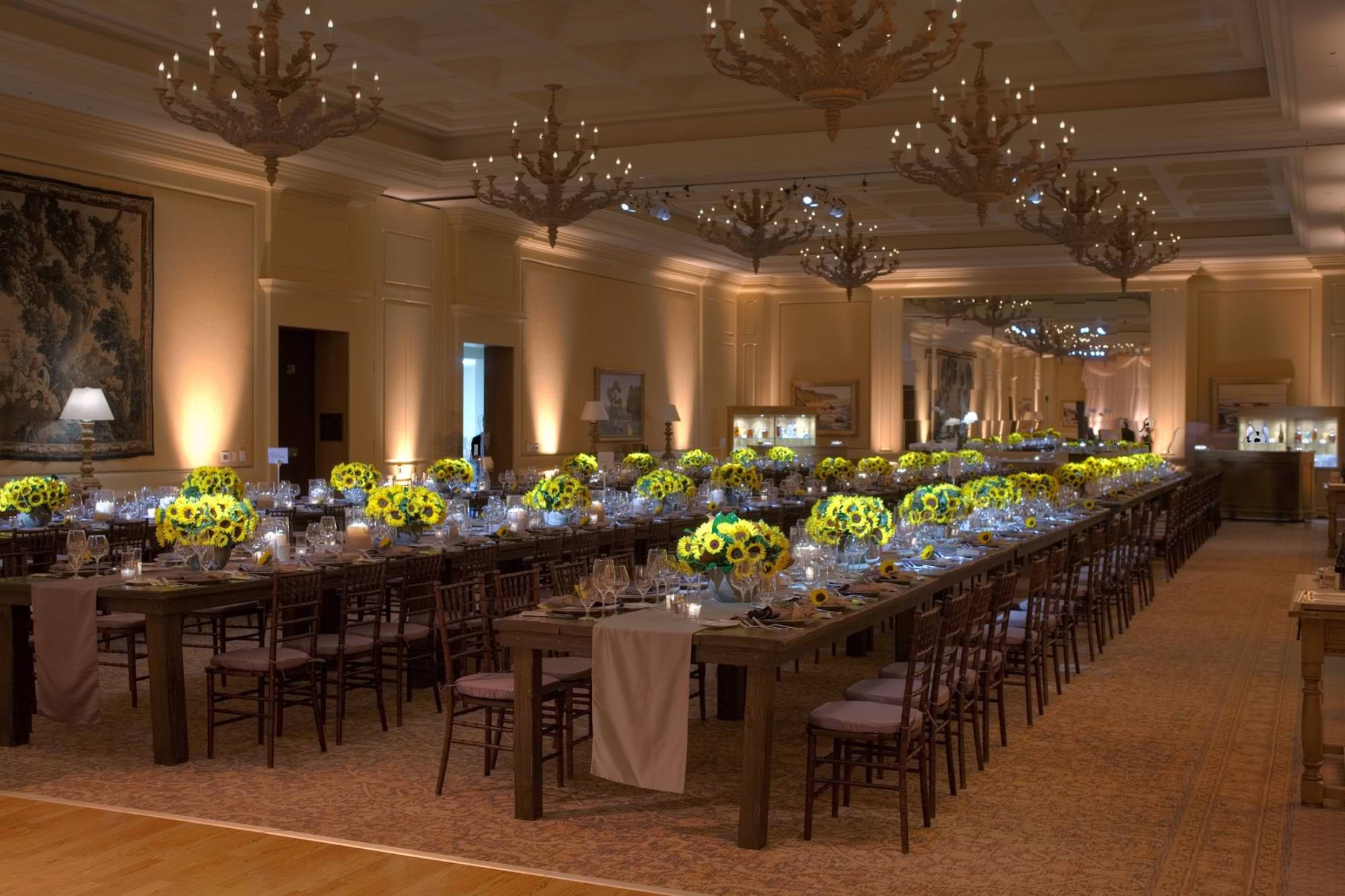 nisies-enchanted-florist-orange-county-Sunflowers-Cosentino-Rehearsal-Dinner-Pelican-Hill-Resort-event-4