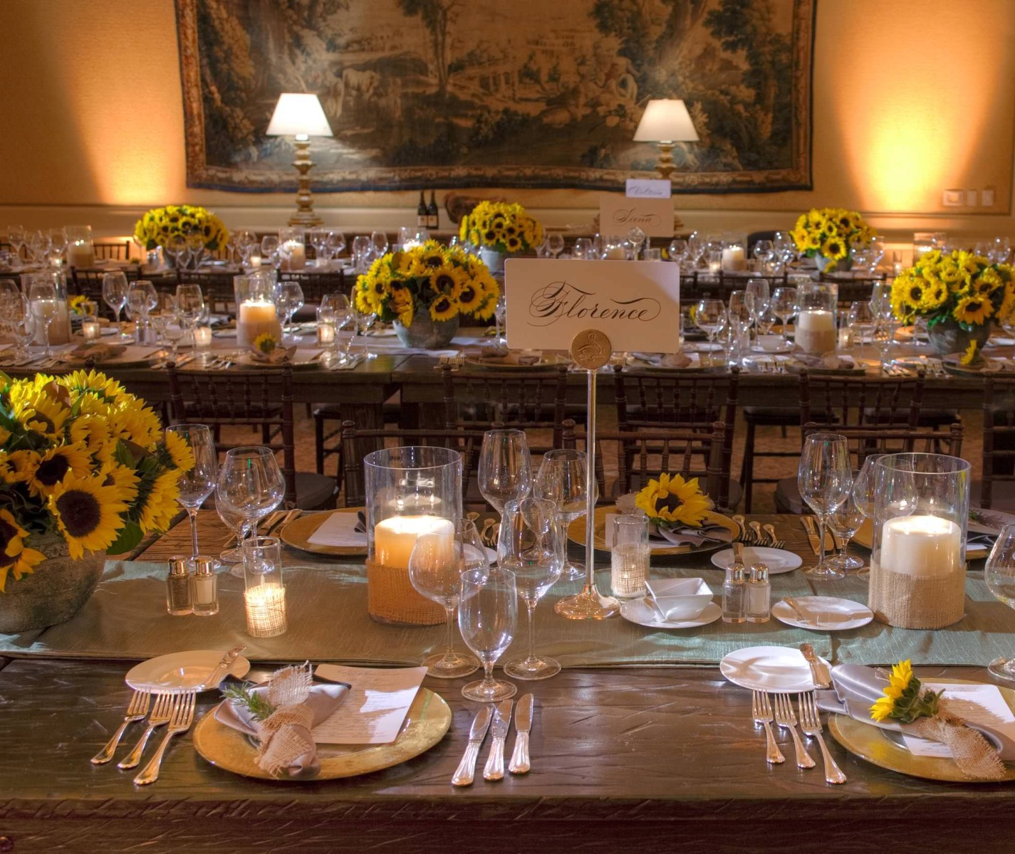 nisies-enchanted-florist-orange-county-Sunflowers-Cosentino-Rehearsal-Dinner-Pelican-Hill-Resort-event-7