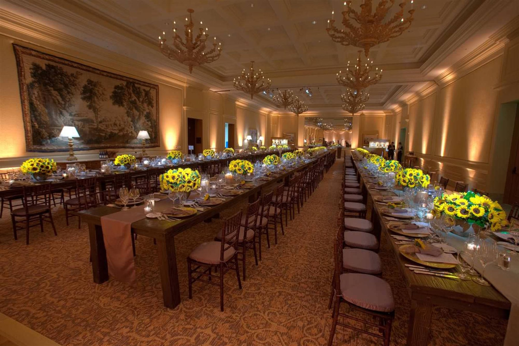 nisies-enchanted-florist-orange-county-Sunflowers-Cosentino-Rehearsal-Dinner-Pelican-Hill-Resort-event-9